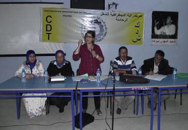 """في لقاء تعبوي للإضراب العام ثريا لحرش:الإضراب ليس سياسيا في مواجهة حكومة """"لمعاكَيز"""""""